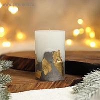Свеча интерьерная белая с бетоном (поталь), 10 х 6 см