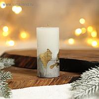 Свеча интерьерная белая с бетоном (поталь) 10 х 5 см