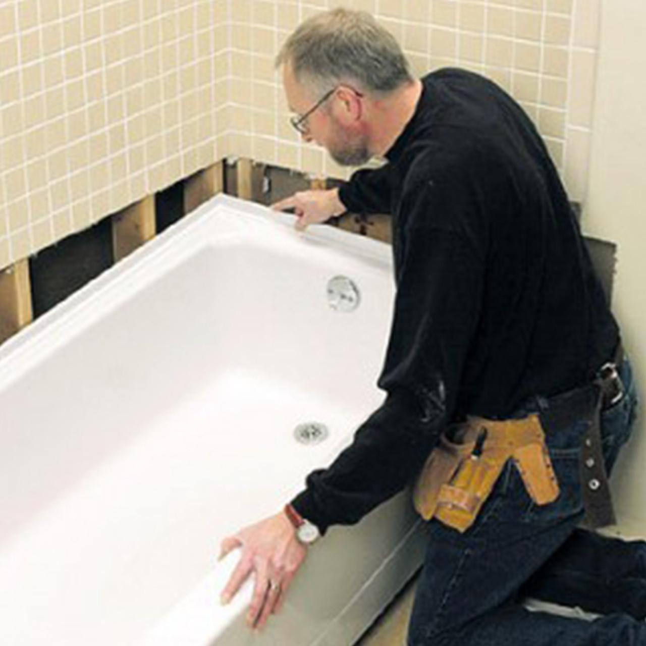 Установка прямой акриловой ванны с подключением сифона