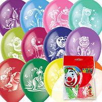 Шар латексный 12' 'Весёлый зоопарк', пастель, декоратор, 2-сторонний, набор 10 шт., цвета МИКС