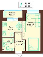 1 комнатная квартира 30.37 м², фото 1