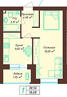 1 комнатная квартира 38.56 м²
