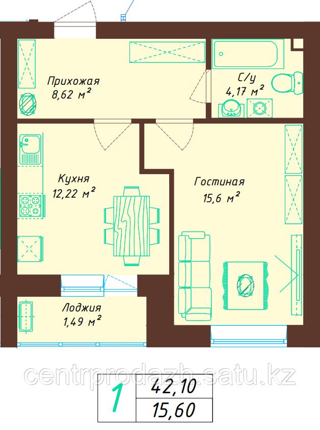 1 комнатная квартира 42.1 м²