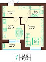 1 комнатная квартира 42.1 м², фото 1