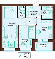 2 комнатная квартира 52.59 м², фото 1