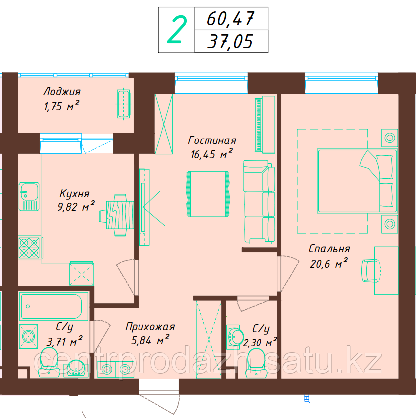 2 комнатная квартира 60.47 м²