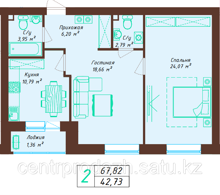 2 комнатная квартира 67.82 м²