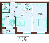 2 комнатная квартира 67.82 м², фото 1