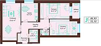 3 комнатная квартира 86.93 м², фото 1
