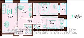 3 комнатная квартира 86.93 м²