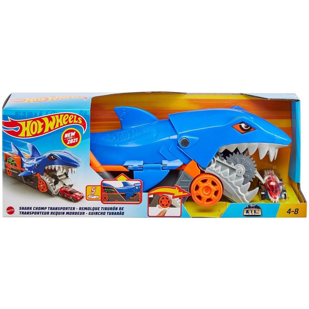 Hot Wheels Машинки Грузовик Голодная акула с хранилищем для машинок, Хот Вилс