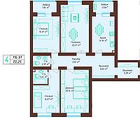 4 комнатная квартира 116.91 м²