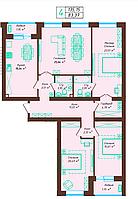4 комнатная квартира 135.15 м²