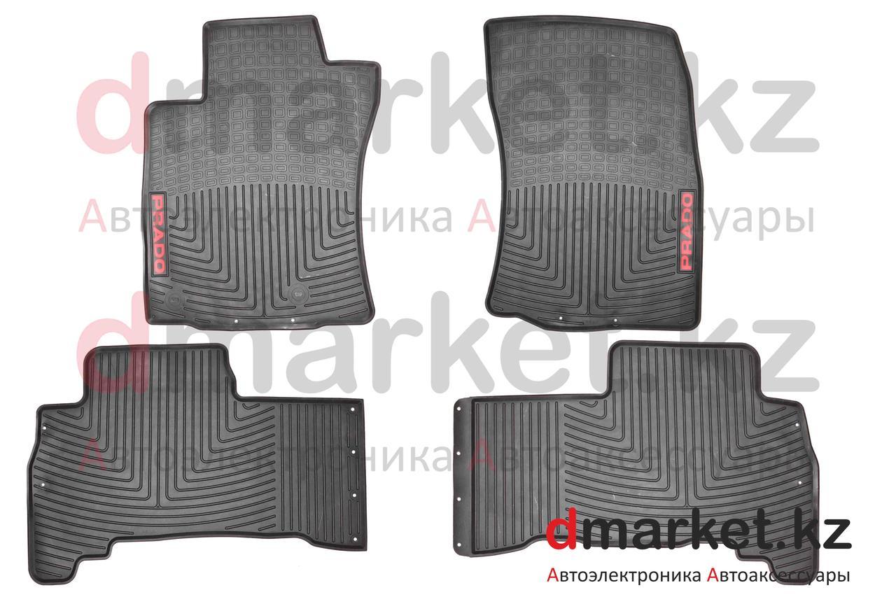 Коврики полики Toyota Land Cruiser Prado 150, черные, резиновые, 4 предмета