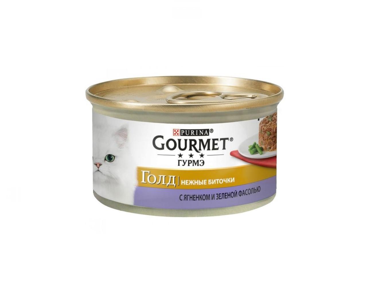 Gourmet Gold биточки с ягненком и зеленой фасолью, банка 85гр.
