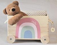 Ящик для игрушек / деревянный на колесах B-001