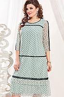 Женское осеннее бирюзовое большого размера платье Vittoria Queen 13523 54р.
