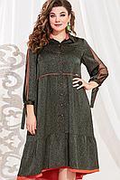 Женское осеннее из вискозы зеленое большого размера платье Vittoria Queen 13503 50р.
