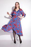 Женское осеннее синее нарядное большого размера платье Michel chic 2047 красно-синий 48р.