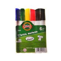 Маркер для ткани набор 6 цветов Koh-I-Noor 3205 5.0 мм, длина письма 400 м, пакет, европодвес