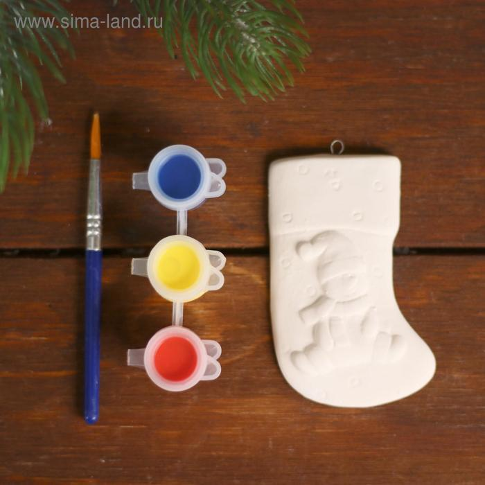 Ёлочное украшение под раскраску «Носочек» с подвесом, краска 3 цв по 2,5 мл, кисть, уценка - фото 2