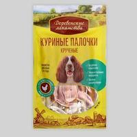 Палочки 'Деревенские Лакомства' для собак, крученные, куриные, 90 г