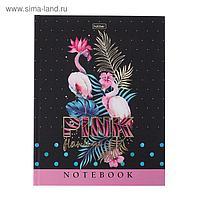 """Бизнес-блокнот А5, 80 листов """"Розовый фламинго"""", твёрдая обложка, матовая ламинация, фольгирование"""