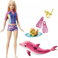 Кукла Barbie с дельфином и щенком