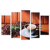 """Модульная картина """"Чашка кофе"""" (2-23х52; 2-24х70; 1-24х80) 120х80см"""