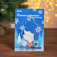 Ёлочное украшение под раскраску «Снеговик с ёлкой» с подвесом, краска 3 цв по 2,5 мл, кисть, уценка