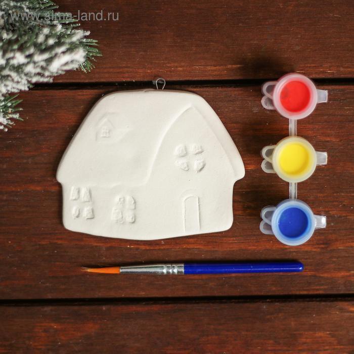 Ёлочное украшение под раскраску «Хата» с подвесом, краска 3 цв по 2,5 мл, кисть, уценка - фото 2