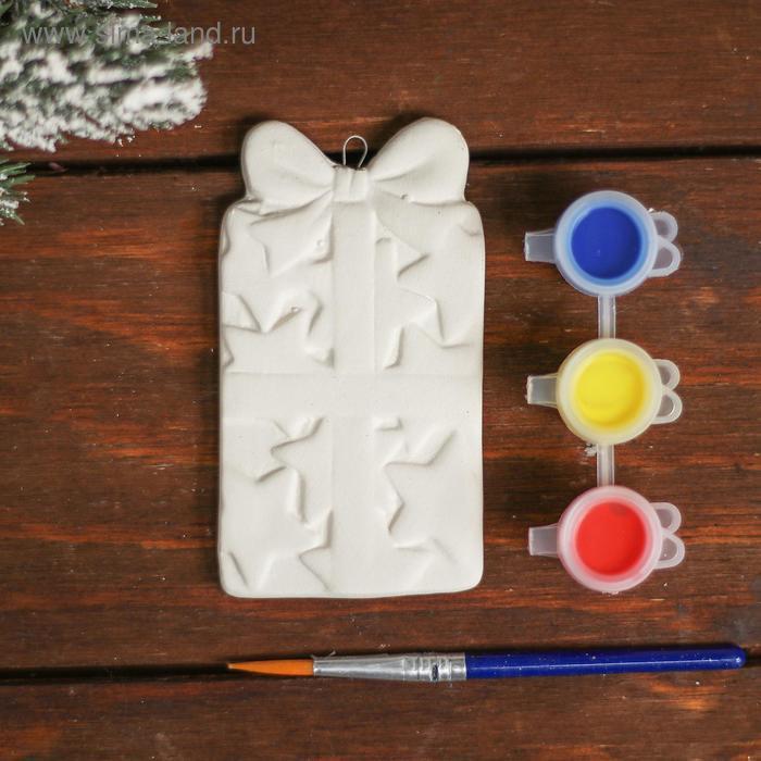 Ёлочное украшение под раскраску «Подарок с бантиком» с подвесом, краска 3 цв по 2,5 мл, уценка - фото 2