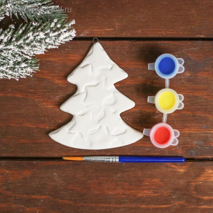 Ёлочное украшение под раскраску «Ёлочка со звездами» с подвесом, краска 3 цв по 2,5 мл, уценка - фото 2