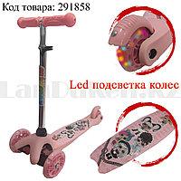 Детский самокат трехколесный с LED подсветкой колес кукла LOL светло-розовый