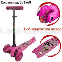 Детский самокат трехколесный с LED подсветкой колес кукла LOL розовый