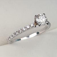 Золотое кольцо с бриллиантом 0,53Сt VVS2/H EX-Cut, фото 1