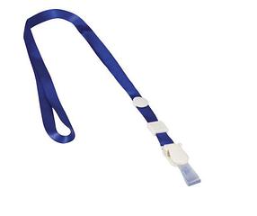 """Шнурок для бейджей """"Brauberg"""", 45см, съёмный пластиковый клип-замок, с петелькой, синяя, в пакете"""