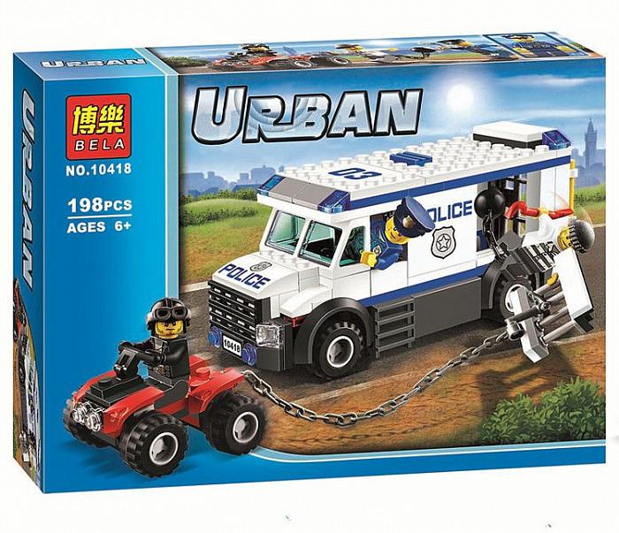 Bela Urban 10418 Конструктор Автомобиль для перевозки заключенных (Аналог LEGO 60043)
