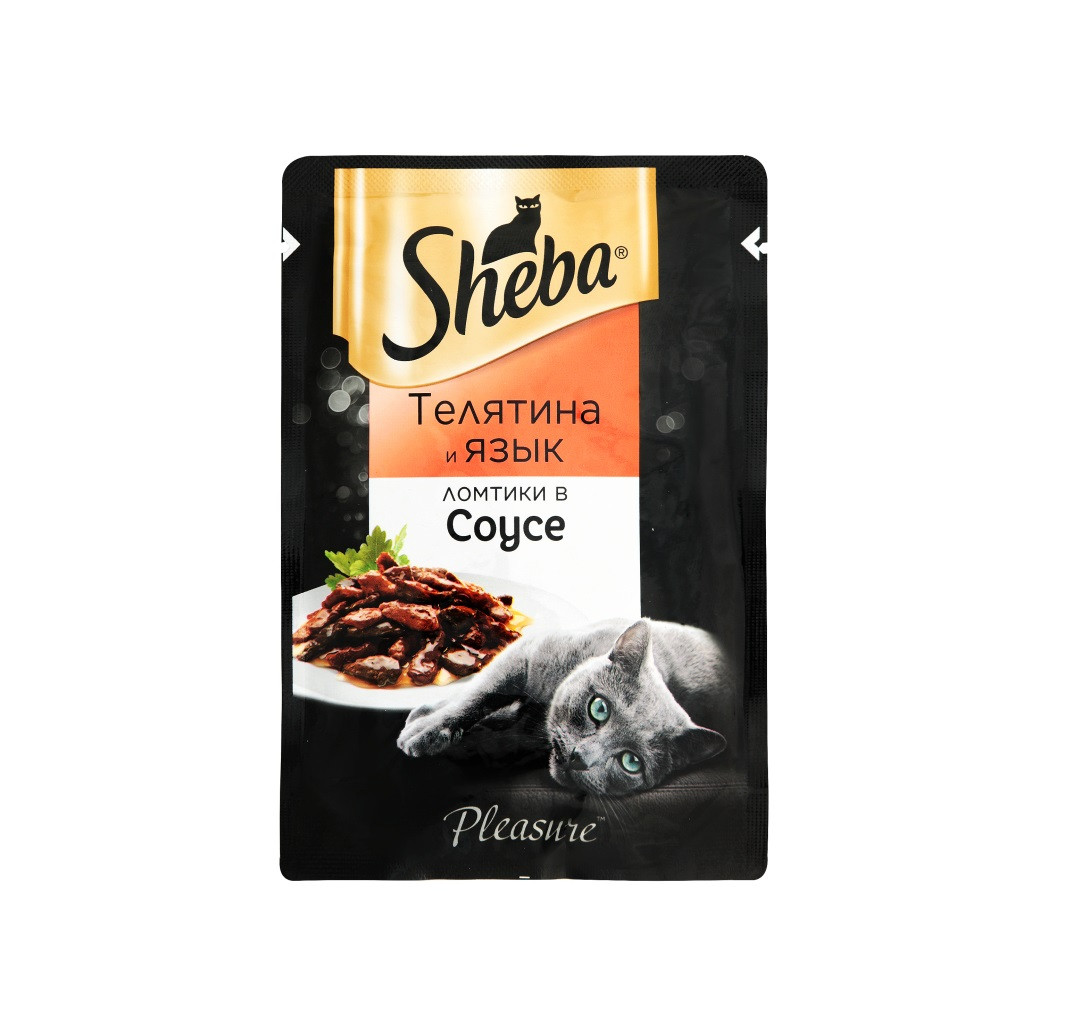 Sheba Pleasure ломтики в соусе, телятина и язык, пауч 85гр.