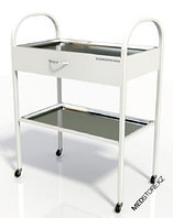 Столик хирургический с 1-им выдвижным ящиком и 2-мя металлическими поддонами (никелированными) (Размер:
