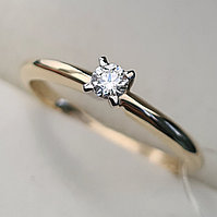 Золотое кольцо с бриллиантами 0.10Сt VVS1/G, фото 1