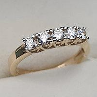 Золотое кольцо с бриллиантами 0.50Сt VS2-SI1/H-I EX-Cut, фото 1