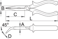 Плоскогубцы удлинённые изогнутые, рукоятки BI, для безопасной работы на высоте - 512/1BI-H UNIOR, фото 2