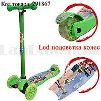 Детский самокат четырехколесный с LED подсветкой колес История игрушек зеленый