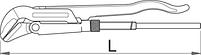 Ключ трубный (шведский тип), угол 45°, для безопасной работы на высоте - 481/6-H UNIOR, фото 2