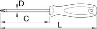 Отвёртка крестовая PH, рукоятка TBI, для безопасной работы на высоте - 615TBI-H UNIOR, фото 2