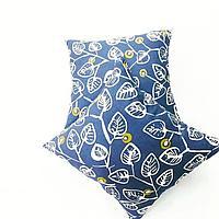 Наволочки на декоративные подушки Синие листья 48х48