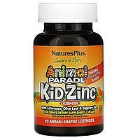 Nature's Plus, Source of Life, пастилки Kid Zinc( Цинк ), вкус натурального мандарина, 90 леденцов