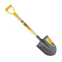 Лопата из рельсовой стали штыковая универсальная автомобильная с деревянным черенком и ручкой
