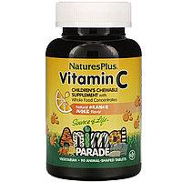 Nature's Plus, Source of Life, Animal Parade, витамин C, вкус натурального апельсинового сока, 90 таблеток